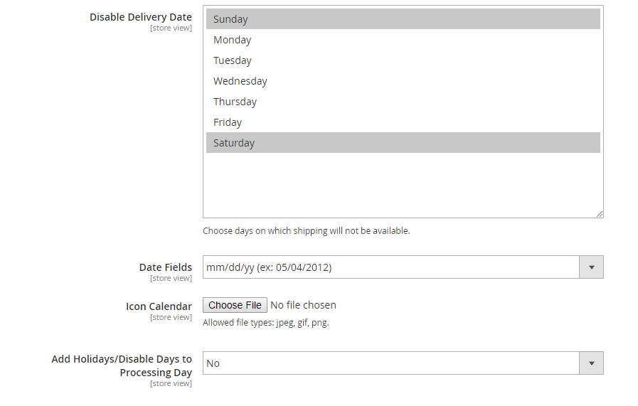 Magento 2 delivery date settings