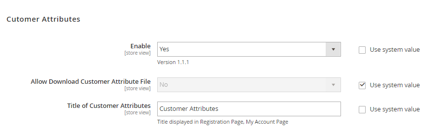 general config of Magento 2 Customer Attributes extension