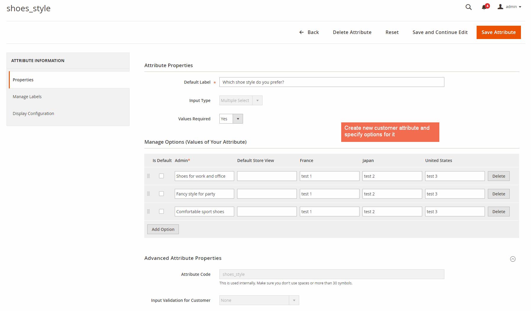 define properties of Magento 2 customer attributes