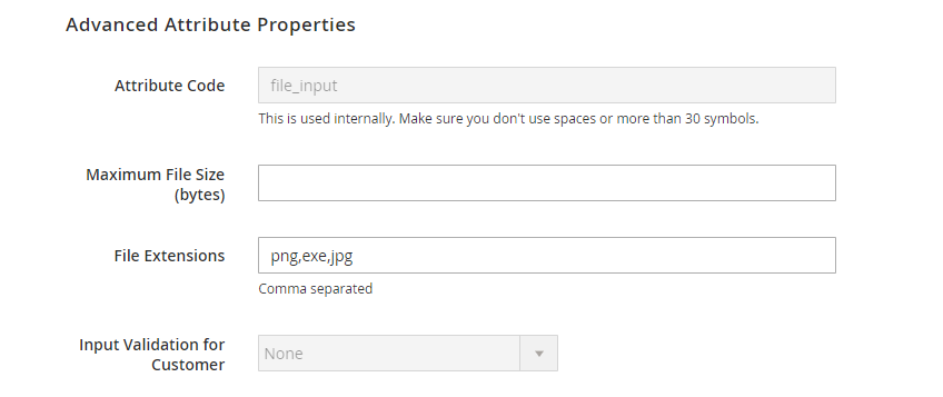 set advanced attribute properties to the addition registration field