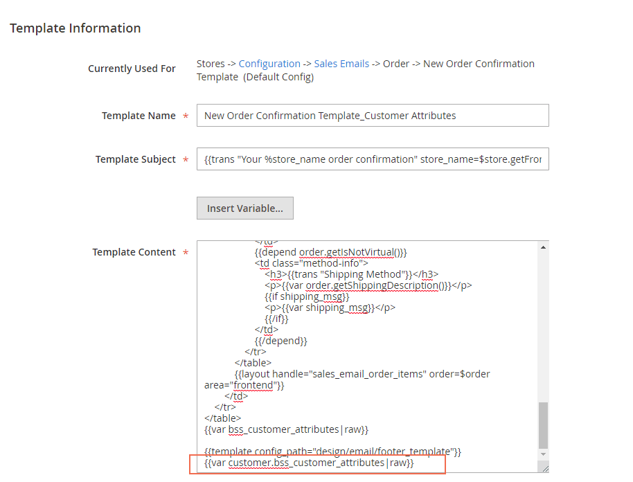add variables of Magento 2 Customer Attributes to the template