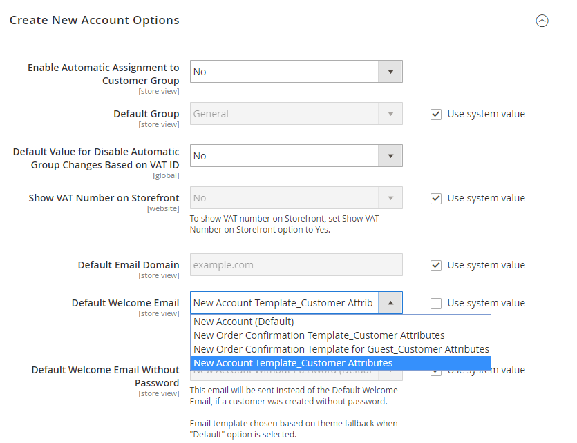 set up Magento 2 new account options