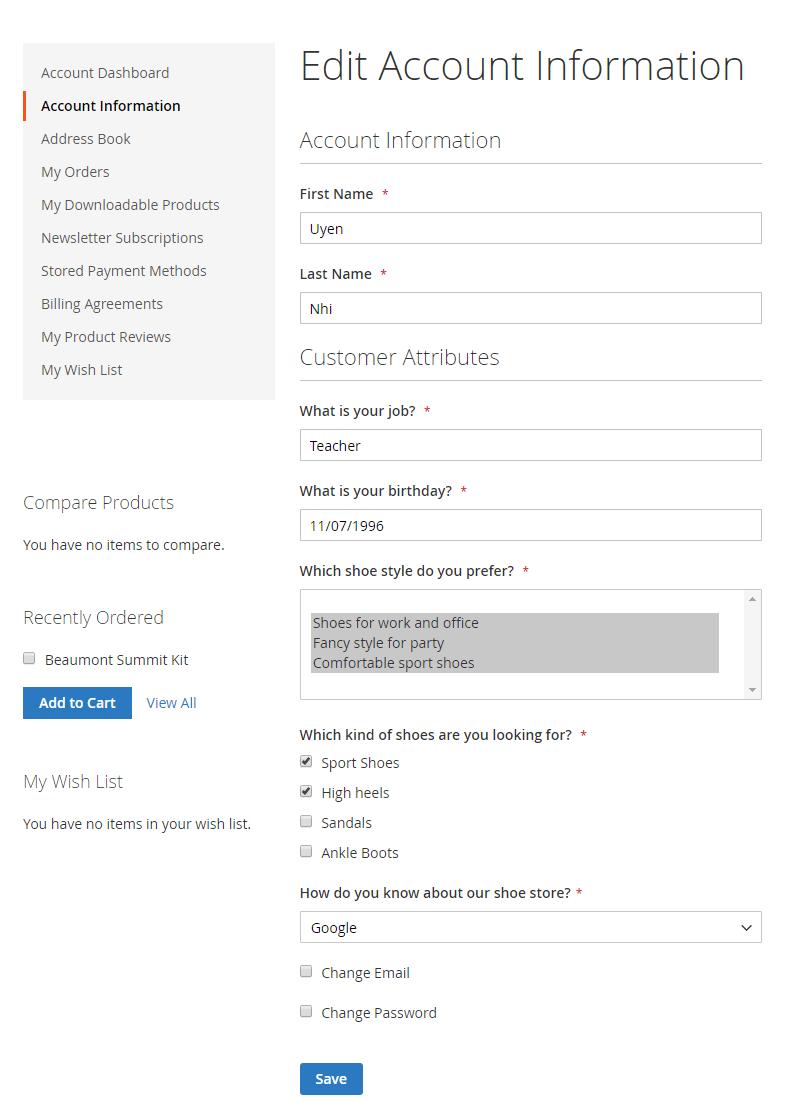 display Magento 2 customer attributes on Account Dashboard