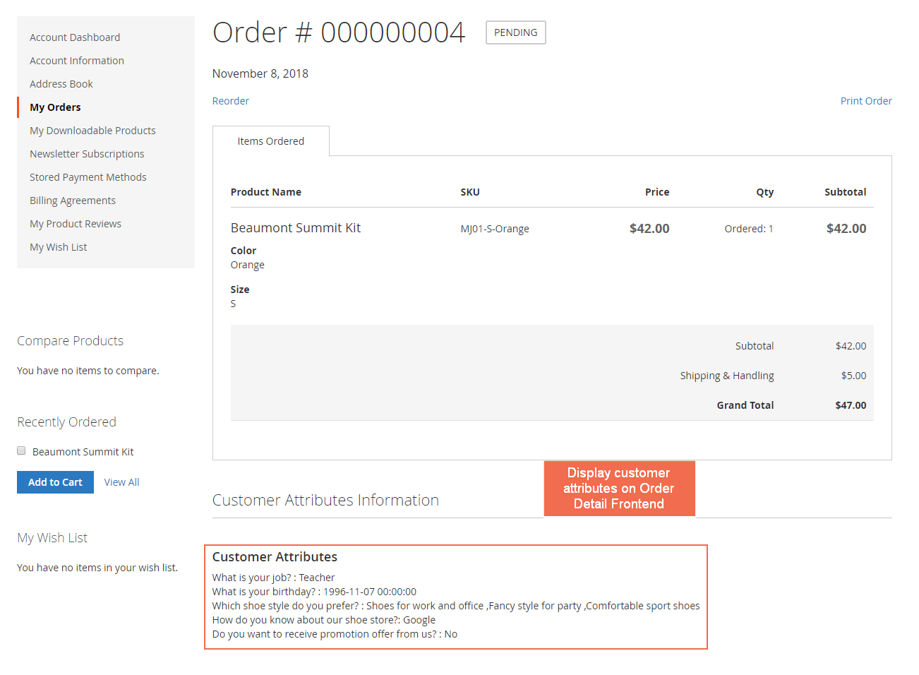 display Magento 2 customer attributes in order detail page