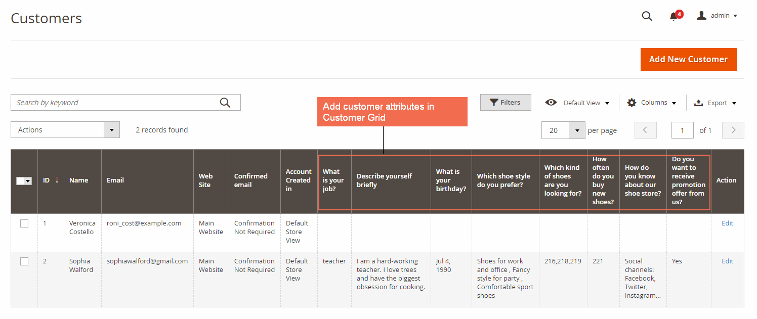 Magento 2 Customer Attributes in Customer Grid