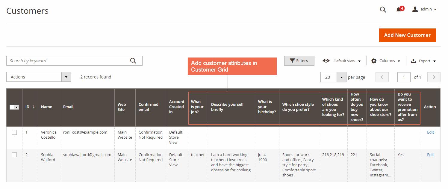 Magento 2 Customer Attributes in Customer Grid