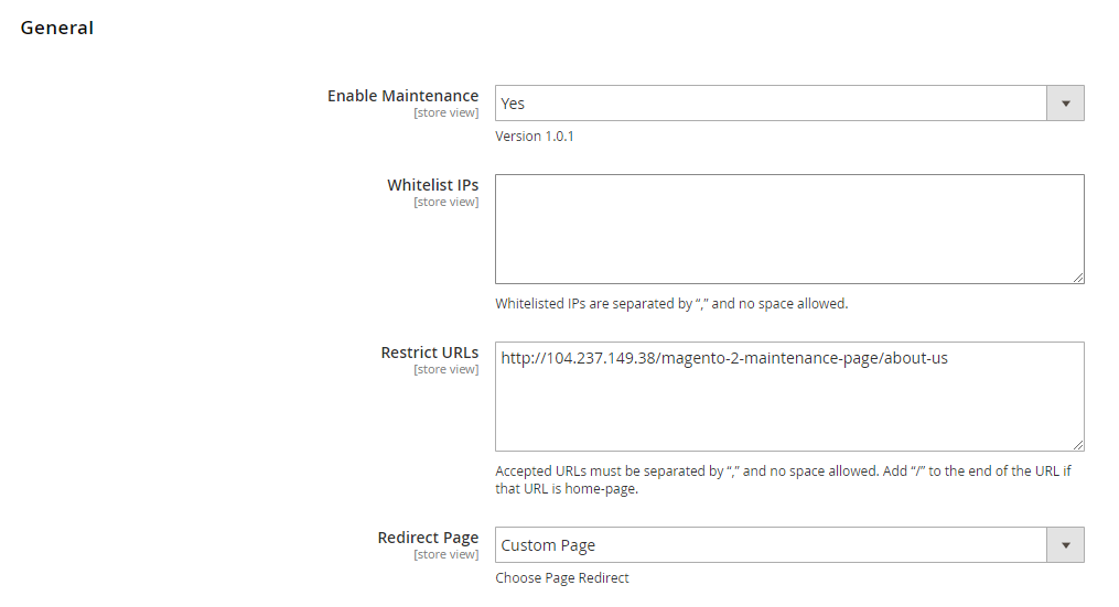 magento 2 maintenance page general configurations