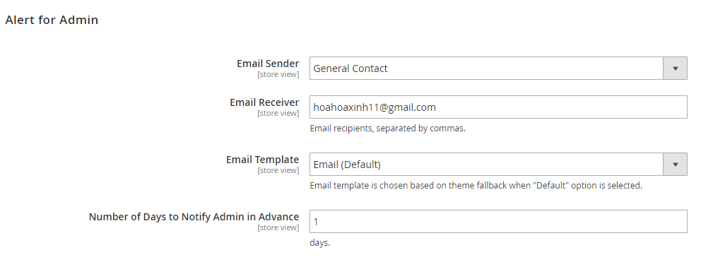 email for admin