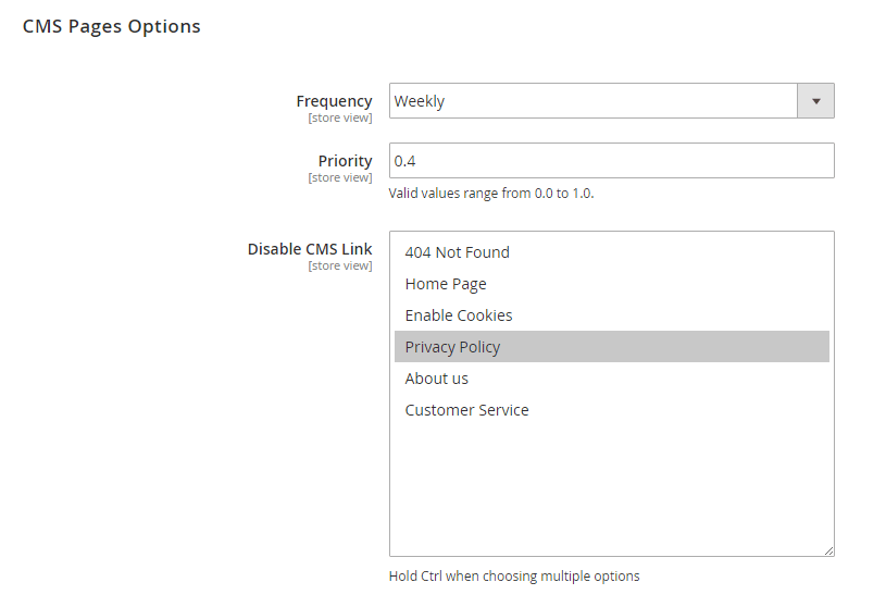 CMS Page Option
