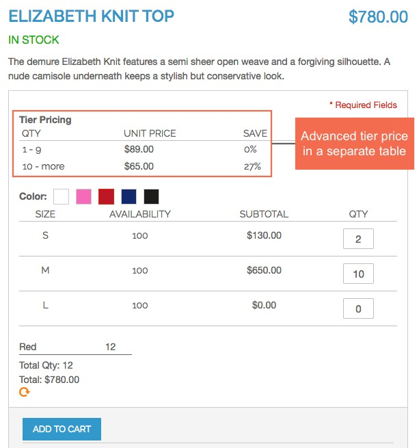 Display advanced tier prices separately in Magento Configurable Product Table Ordering