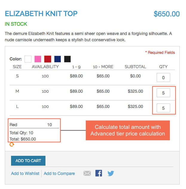Magento Configurable Product Table Ordering extension: Calculate with advanced tier price
