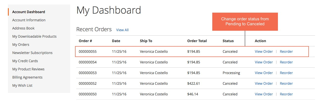 customer dashboard magento 2 Frontend Cancel Order Extension