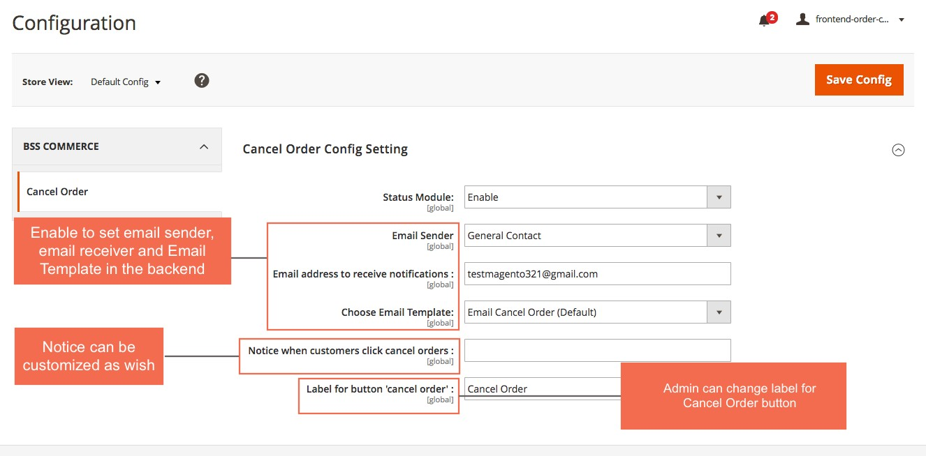 Configuration magento 2 Frontend Cancel Order Extension