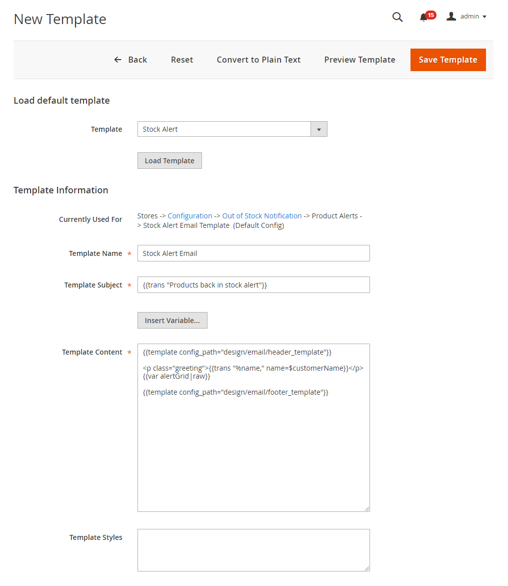 New Template of Magento 2 Out of Stock Notification Email