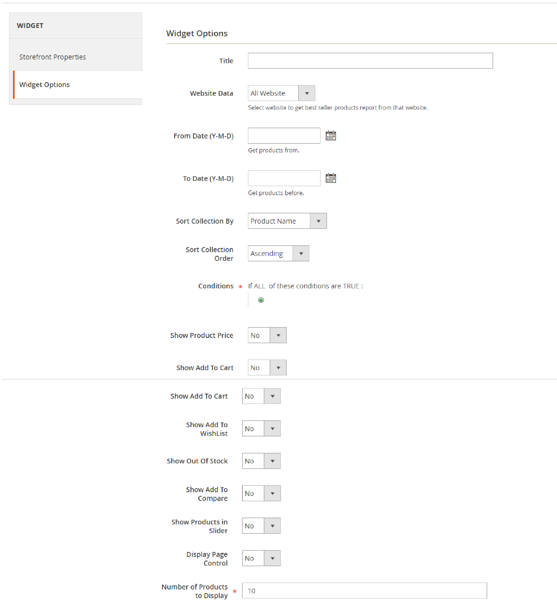 Widget Options supported by Magento 2 Products Widget Slider extension