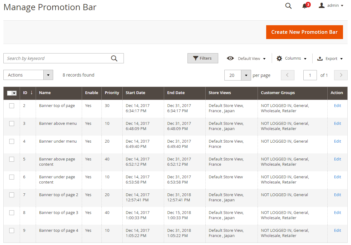 Magento 2 Promotion Bar grid