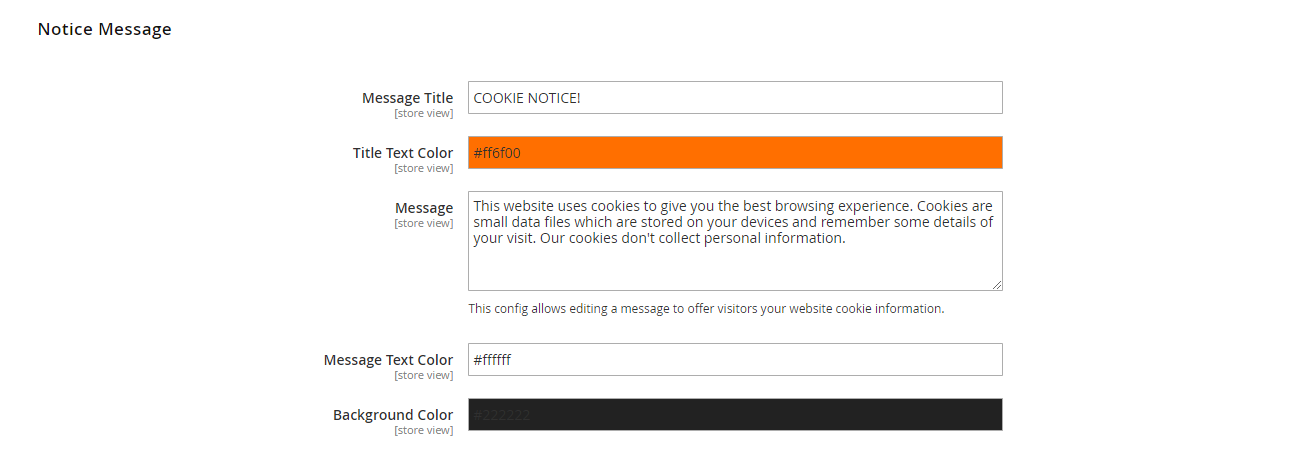 Notice Message Configuration magento 2 coookie notice