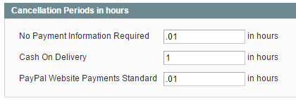 set periods of hours to auto cancel orders