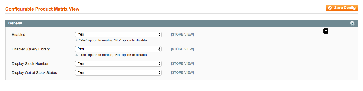 General settings of Magento Configurable Product Matrix View
