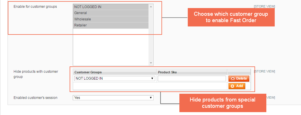 Choose customer groups to enable Magento Fast Order features