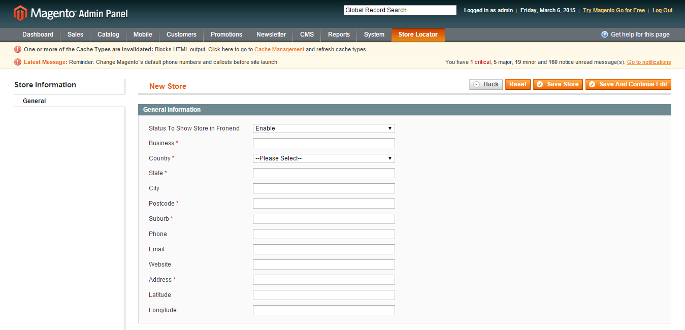 Fill in information of Magento Store Locator