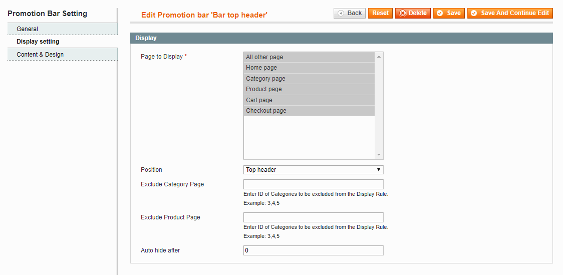 display settings of Magento promotion bar