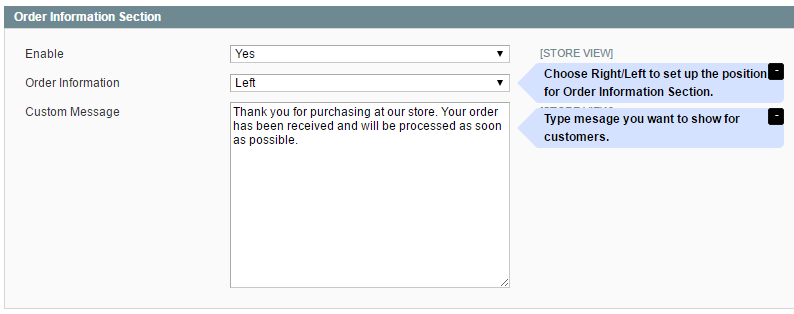 order information section oF Magento Checkout Success Page
