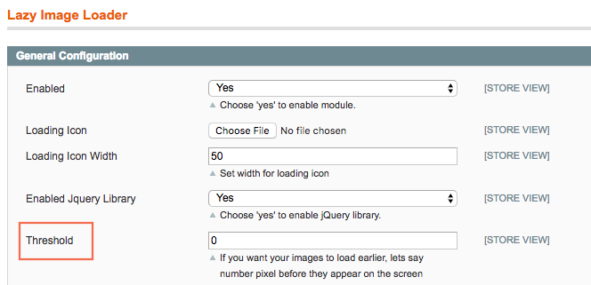general settings of Magento Lazy Image Loader extension