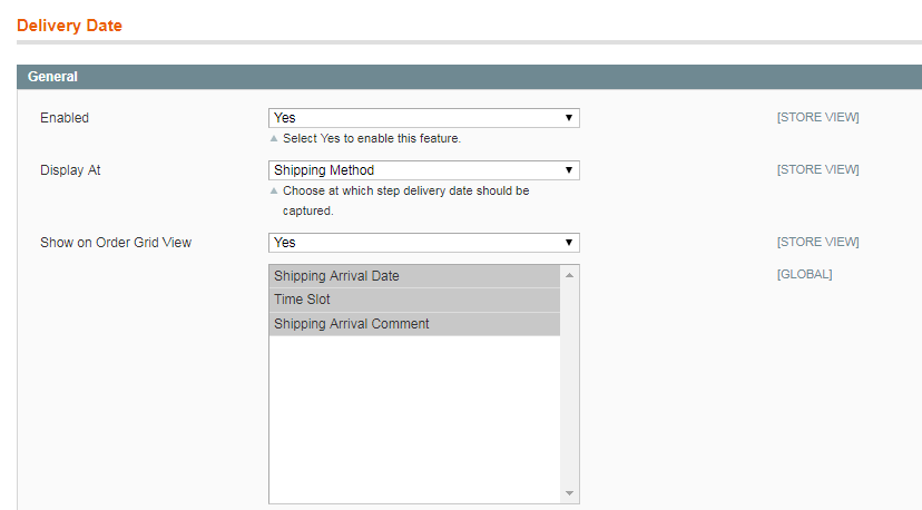 choose where to show delivery date option
