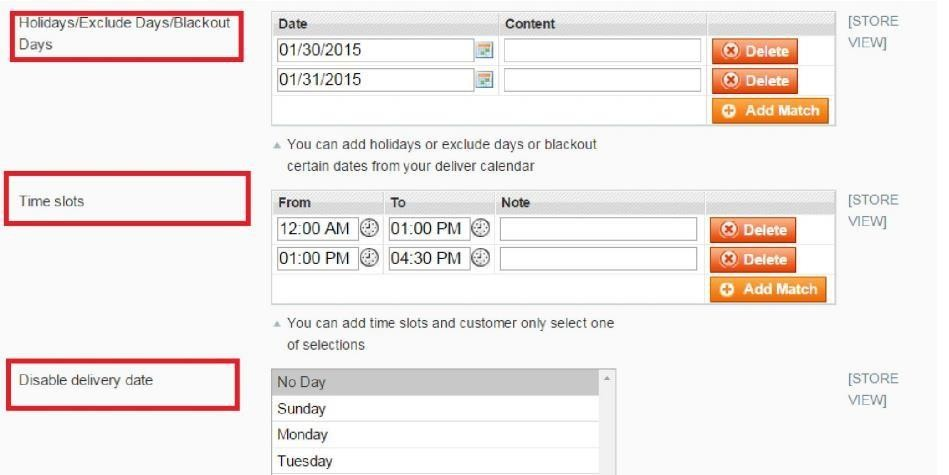 exclude holidays or blackout days from order delivery date