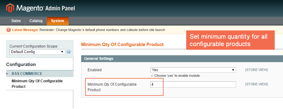 set minmum quantity of configurable product in Magento