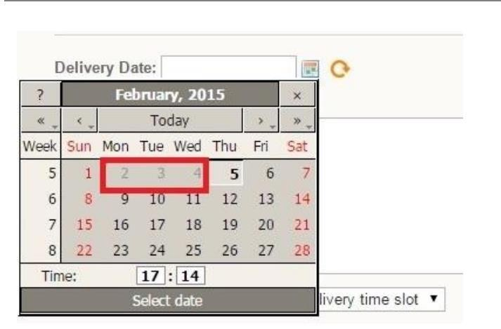 The delivery date time picker in Magento storefront