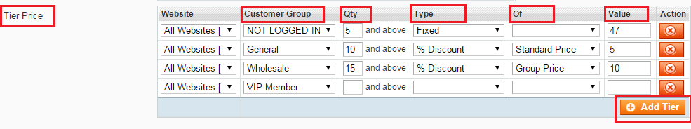 set up tier price in percentage or a fixed amount for each customer group