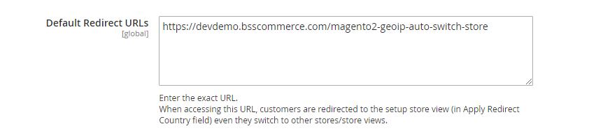 Default Redirect URL