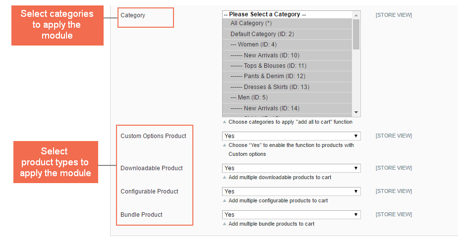 more settings of add multiple products to cart