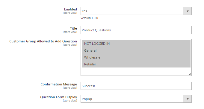 magento 2 product questions general configuration