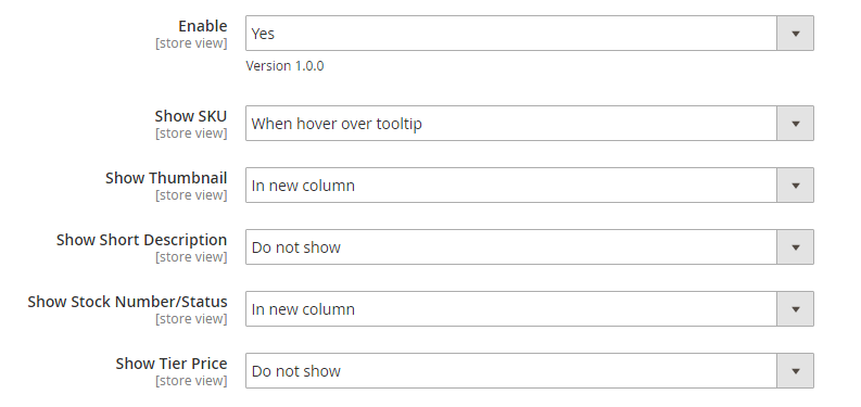 Settings in the backend