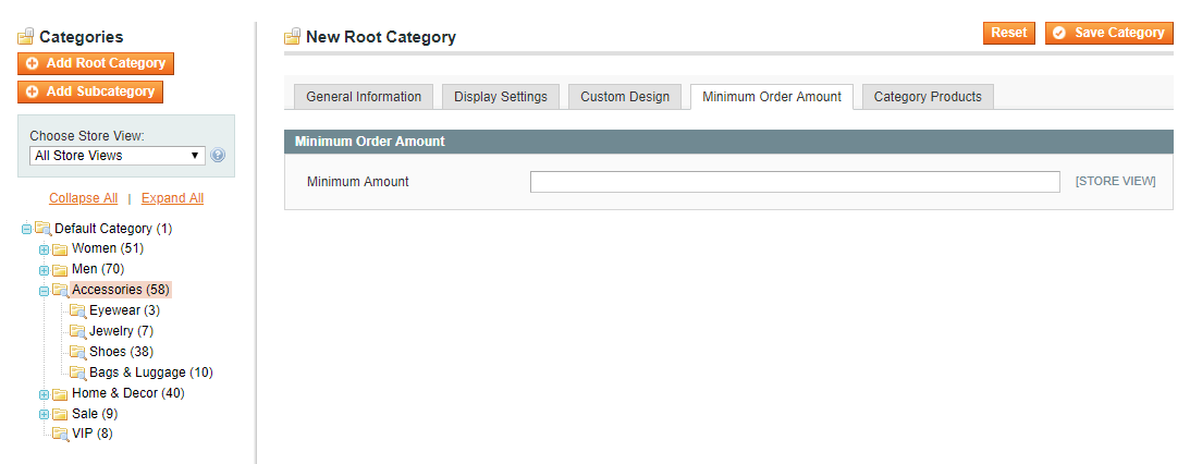Set up Minimum Order Amount for each category