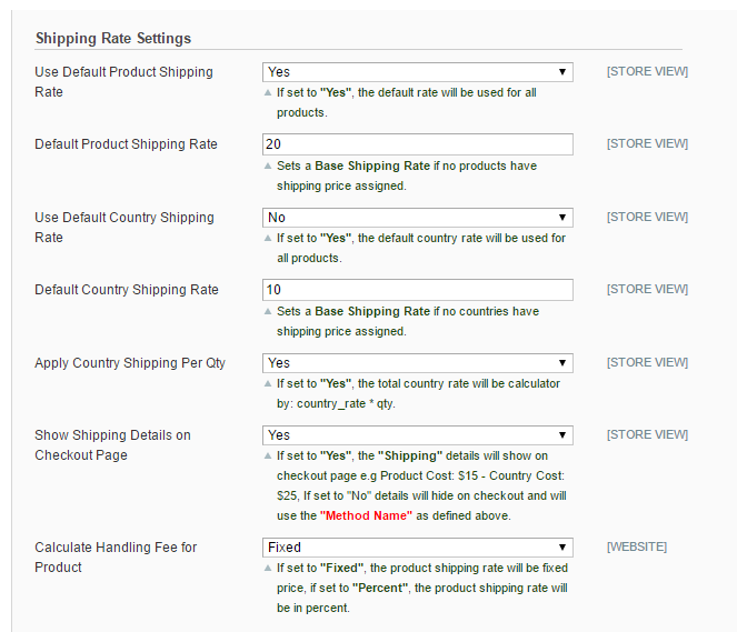 Shipping Rate Settings