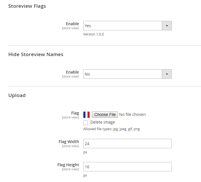 magento 2 store view flags