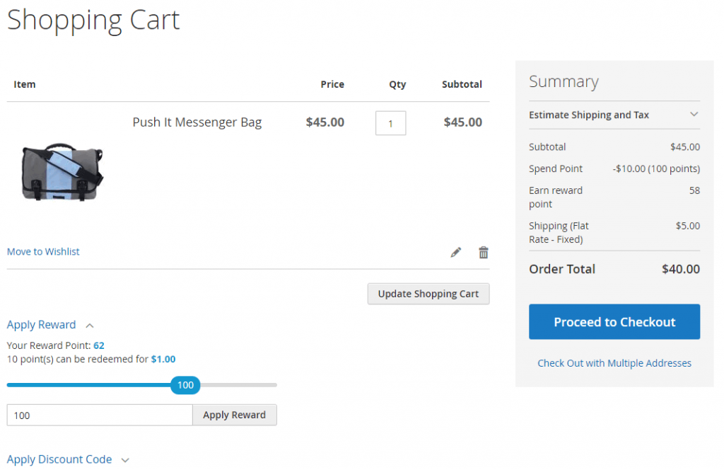 point in shopping cart page