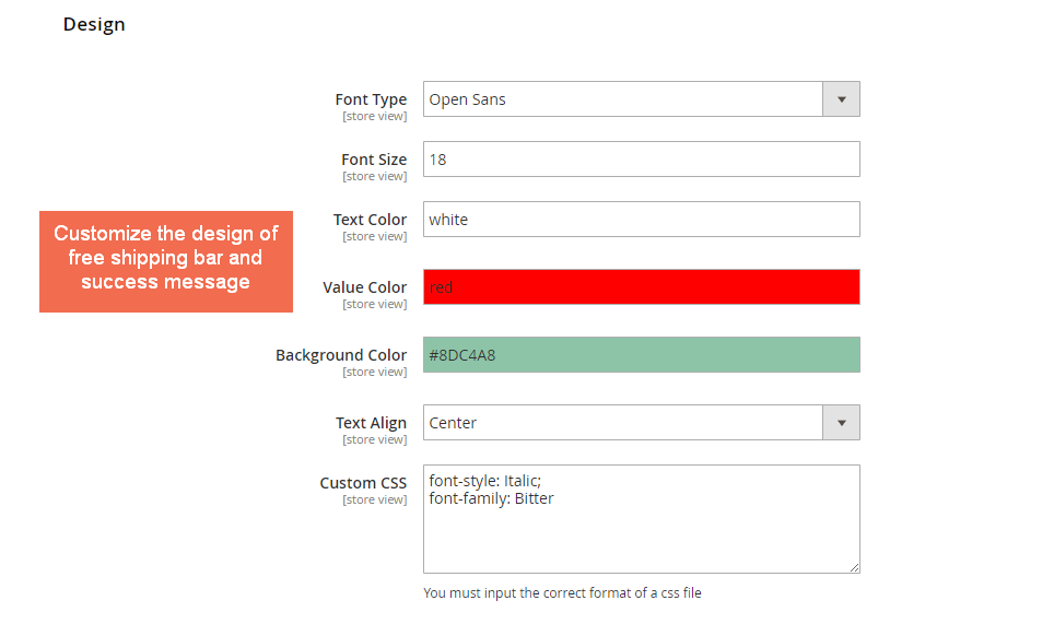 Design Settings of Magento 2 Free Shipping Bar extension