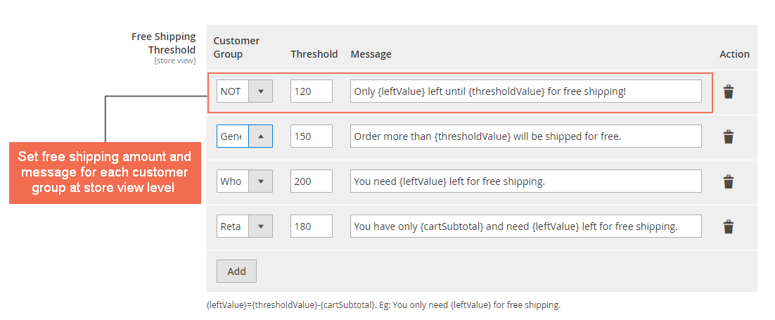 Magento 2 Free Shipping Threshold Settings