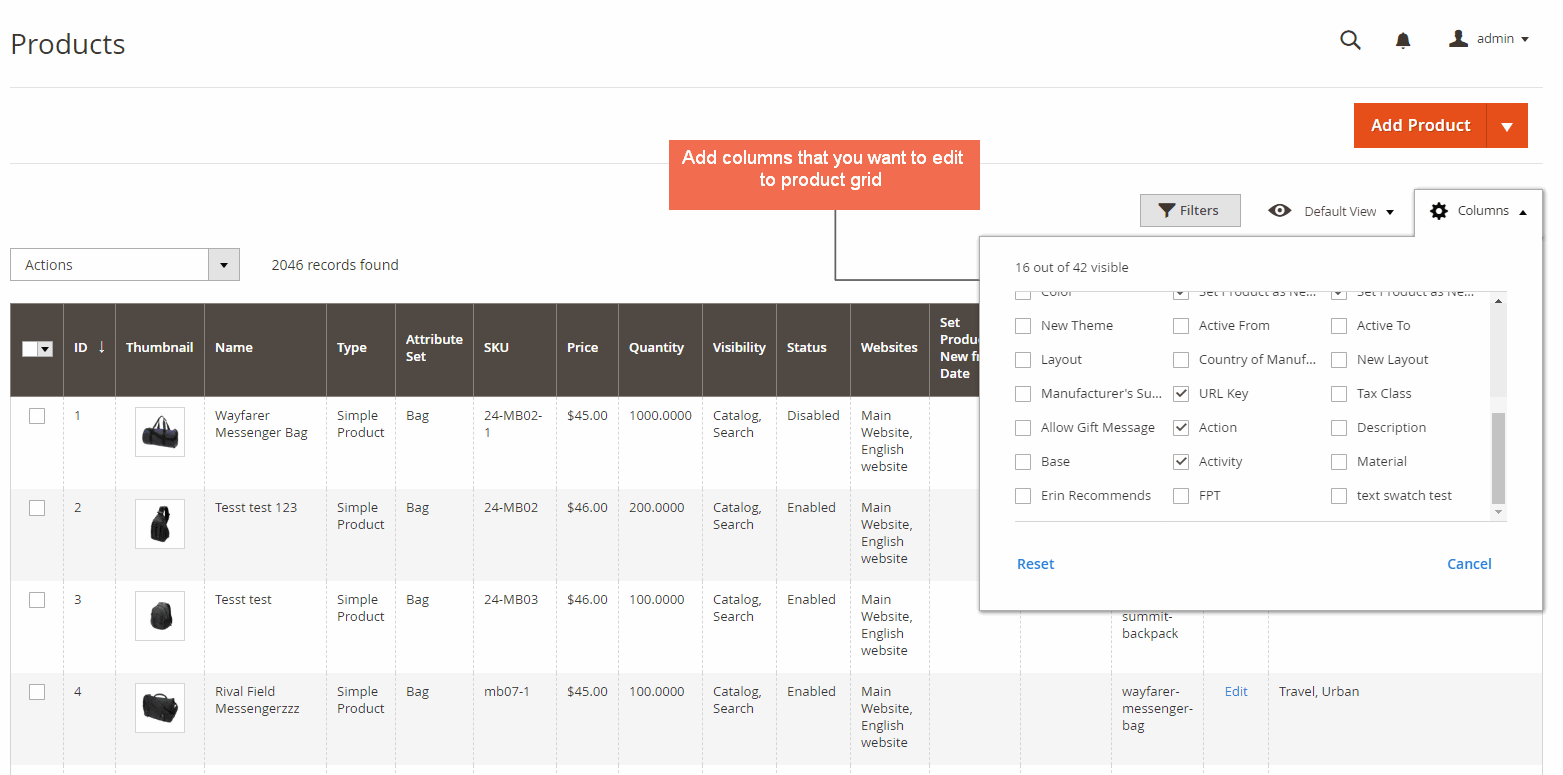 Edit Attributes in Admin Product Grid
