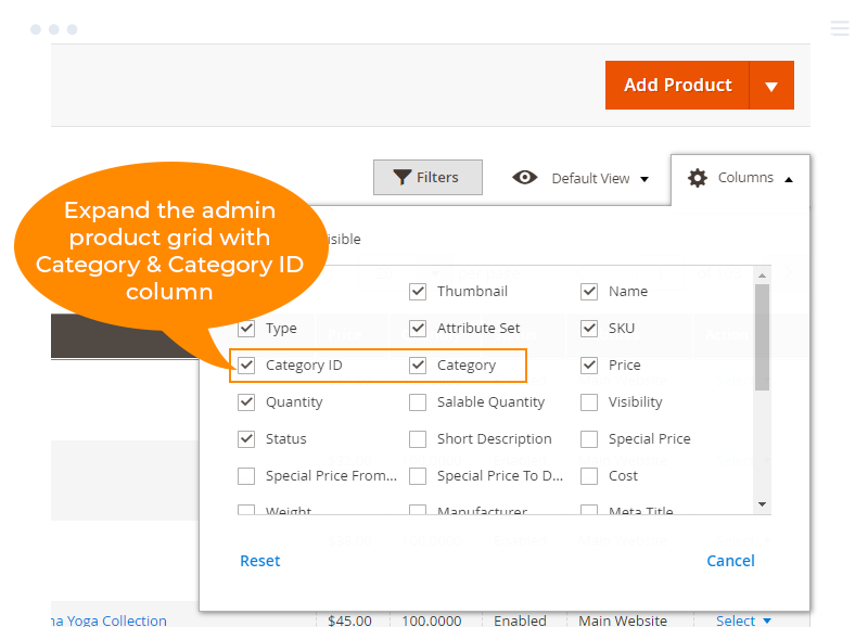 expand  admin product gird  with category