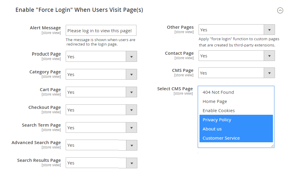 choose_page_to_enable_force_login_function