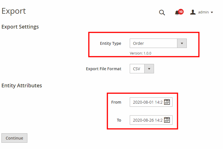 exporting with magento 2 import export order