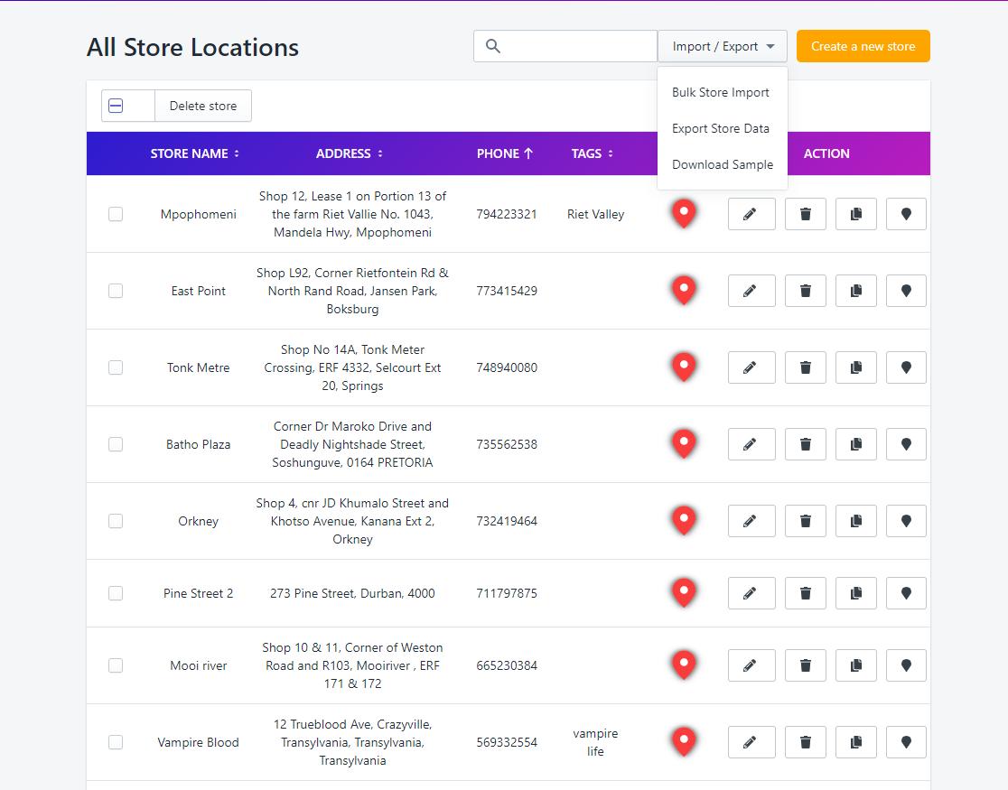 import/export store locations